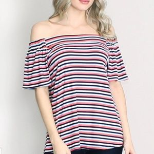 Staccato Off The Shoulder Elbow Sleeve Top